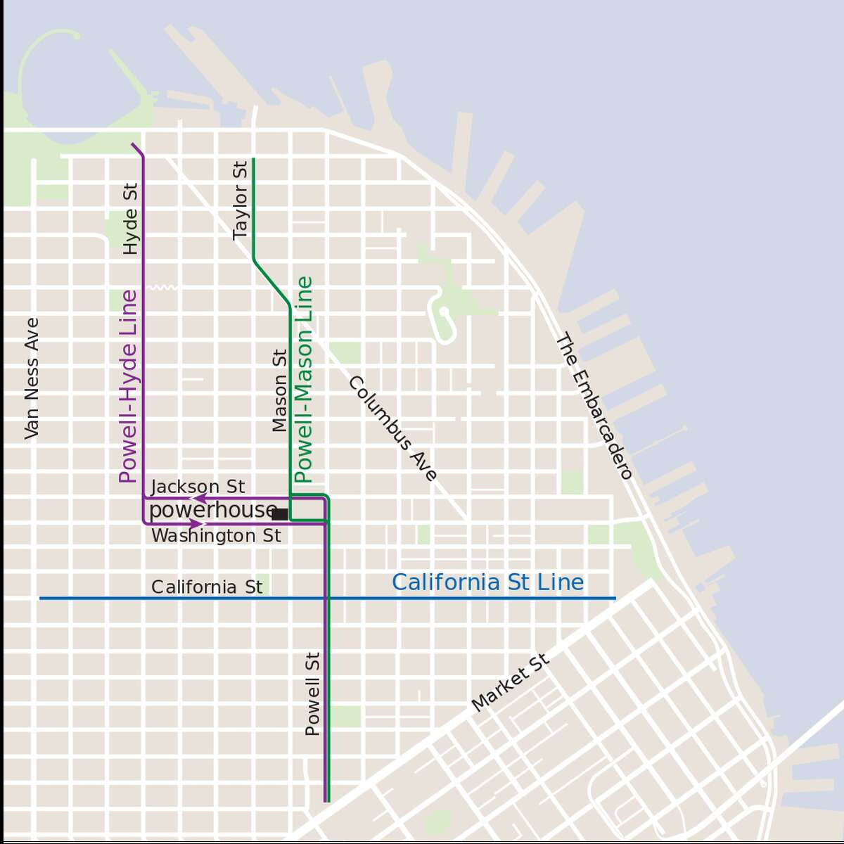 This map shows the three cable car lines in San Francisco: Powell-Hyde, Powell-Mason and California Street Line.