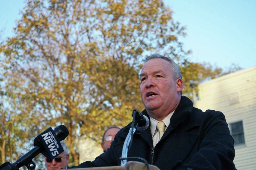 Shawn Morse, Mayor of the City of Cohoes, speaks at a Veterans Memorial Park Dedication at West End Park on Saturday, Nov. 11, 2017. (Massarah Mikati/Times Union)