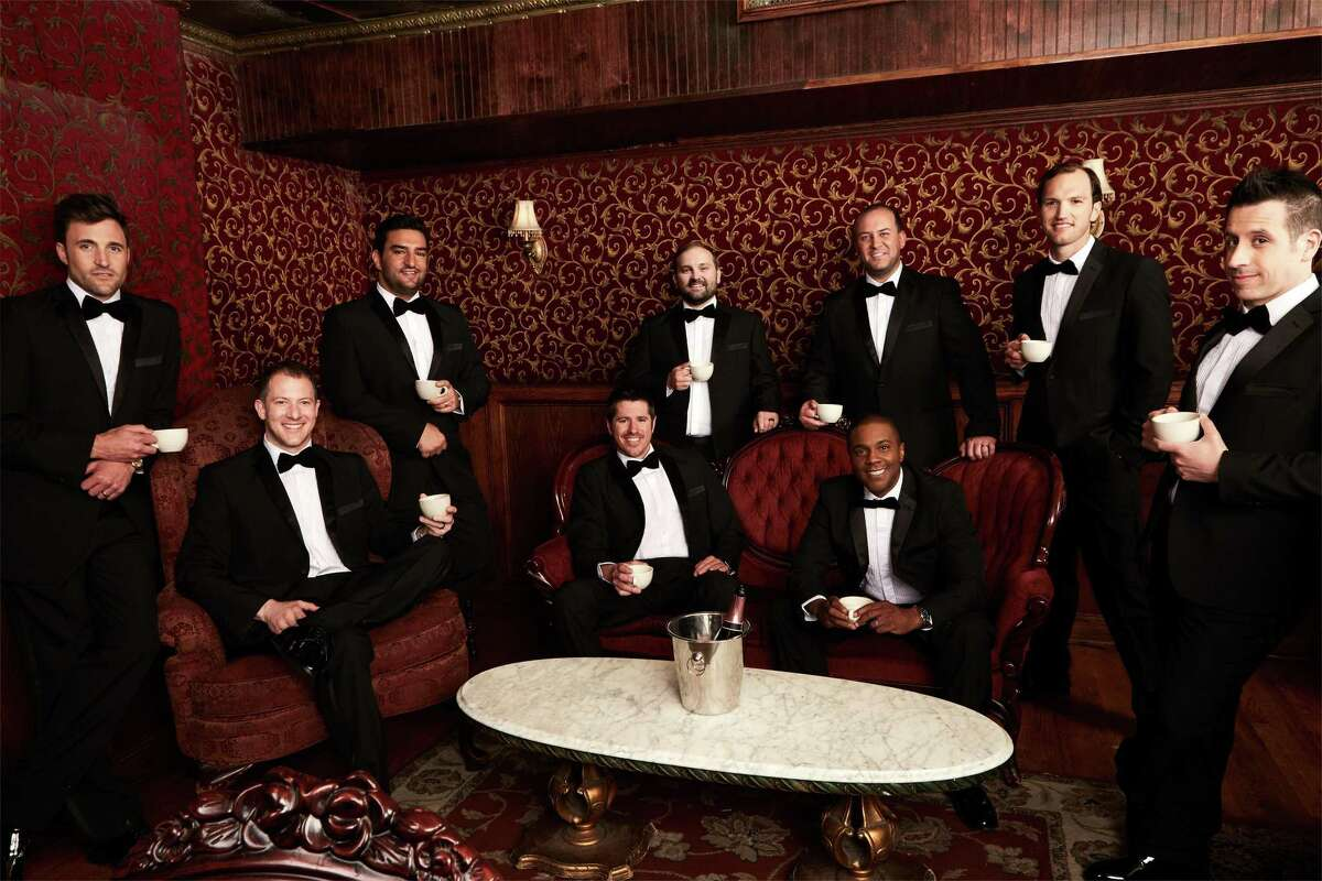 Randy Stine, third from right, standing, with Straight No Chaser.