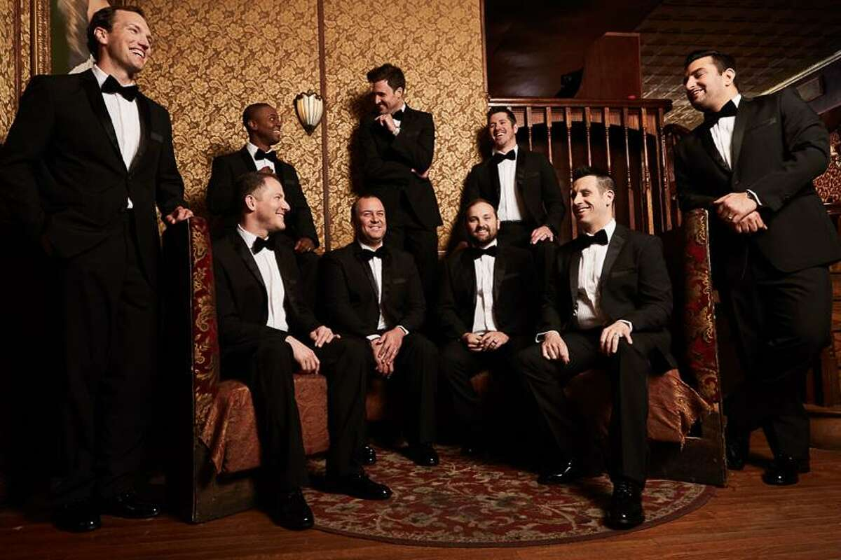 Randy Stine, second from left seated, with Straight No Chaser.
