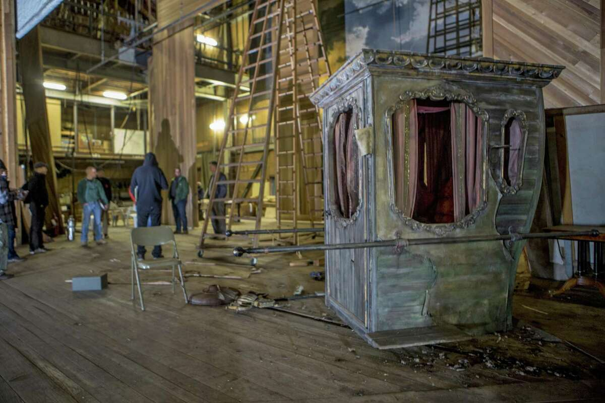 Scott Demel, Marvel's director, Town Engineer John Casey and Beth Daponte, the Shakespeare Building Subcommittee chairwoman, led a half-dozen contractors on a tour through the American Shakespeare Festival Theatre in Stratford on Dec. 1.