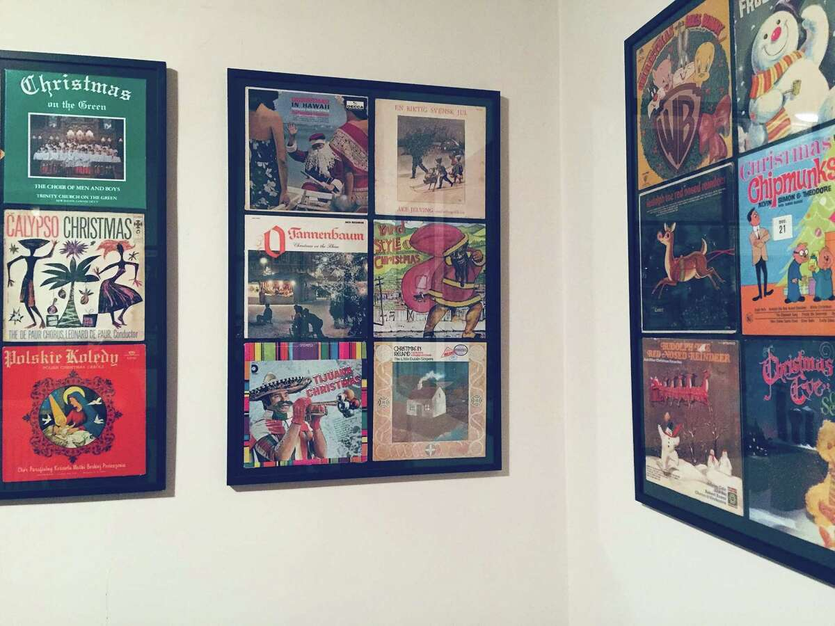 Part of the vinyl Christmas-themed records exhibit at the Ely Center in New Haven.