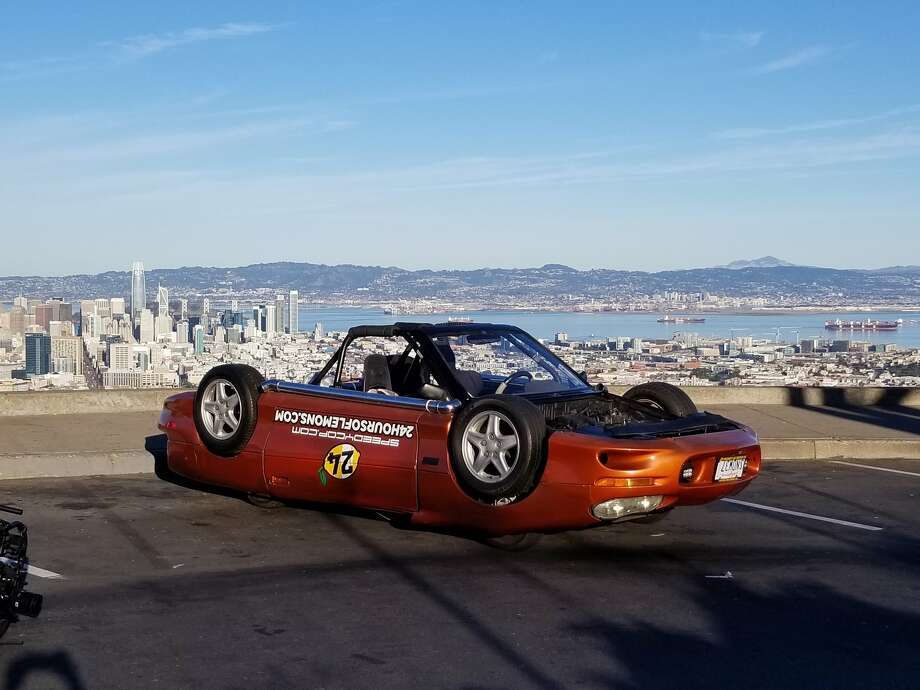 "The upside-down Camaro was used in a shoot for ""Jay Leno's Garage in San Francisco. Photo: Courtesy Jeffrey Bloch / Speedycop"