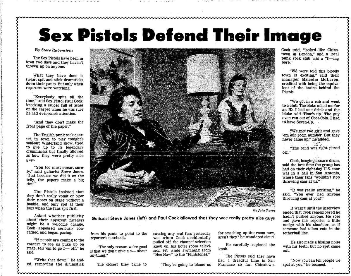 A January 14, 1978 San Francisco Chronicle article on the English punk band the Sex Pistols coming to San Francisco
