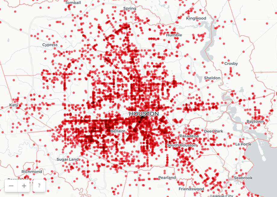 A new interactive map show which areas of Houston are most dangerous for pedestrians.See photos from the interactive map, as well as a ranking for Houston roadways and intersections with the most wrong way crashes. Photo: Hill Law Firm/1Point21 Interactive