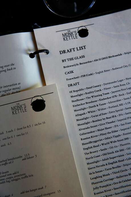 The draft beer list at Monk's Kettle restaurant and bar in the Mission. Photo: Michael Macor, The Chronicle