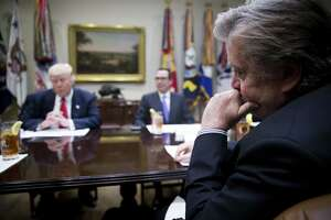 Stephen Bannon, President Donald Trump's chief strategist, participates in a budget meeting at the White House on Feb. 22. Bannon has erred in supposing that running Trumpist insurgent campaigns in non-presidential races would produce the same result.