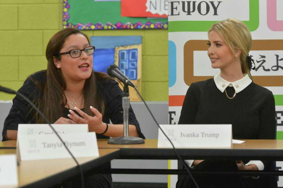 Ivanka Trump, Advisor to Presedent Trump speaks with students including Carol Carera in the Norwalk Early College Academy at Norwalk High School on Monday December 18, 2017 in Norwalk Conn. NECA is part of a growing network of P-TECH schools, an innovative education model developed by IBM to better equip youth with skills to succeed in college and career. Trump and IBM CEO Ginni Rometty spoke with a half dozen students in the program during a panel discussion to highlight the importance of modern skills and career education. Photo: Alex Von Kleydorff / Hearst Connecticut Media / Norwalk Hour