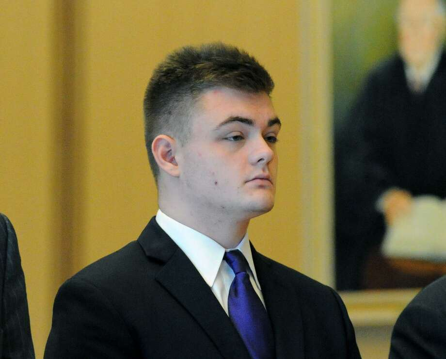 Andrew Schmidt, of Greenwich, in Connecticut Superior Court in Stamford, Conn., Friday, Aug., 26, in a proceeding in front of Judge Gary White to determine if Schmidt is going to be tried as adult in the hit and run death of Cos Cob resident Edward Setterberg, 43, on the night of April 17. Photo: Bob Luckey Jr. / Hearst Connecticut Media / Greenwich Time