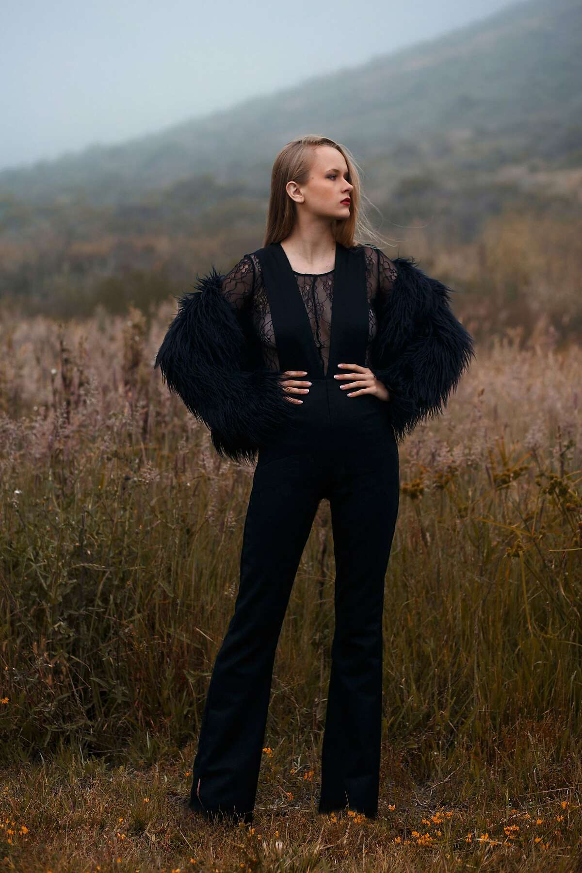 Pieces from�Vanessalynne Hattar�s Fall/Winter 2017 collection included midi dresses, a high-waisted jumpsuit and a sweater.