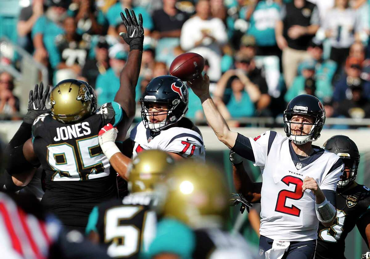 Texans quarterback T.J. Yates completed 12 of 31 passes for 128 yards and a TD against the Jaguars.