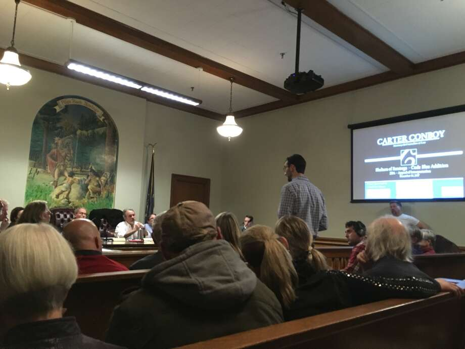 In a standing-room-only zoning board of appeals public hearing on Monday night, board members and the public listened to legal arguments for and against the proposed Shelters of Saratoga building that would provide a place for homeless adults to rest their heads when the temperature dips below 32 degrees.