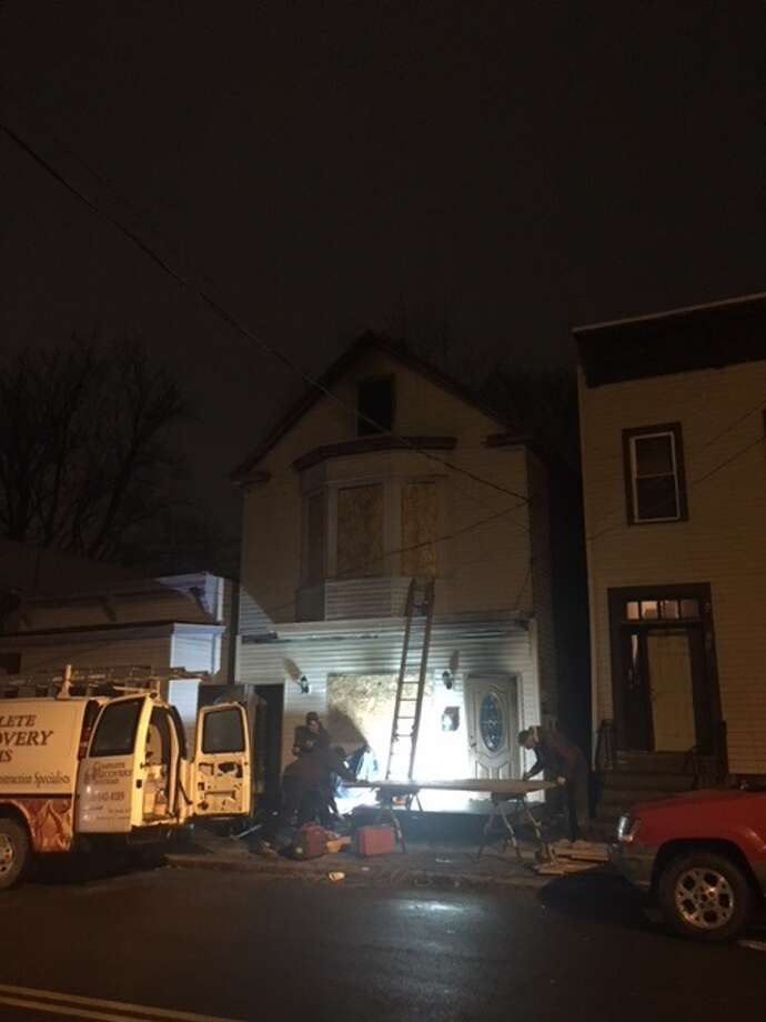 A fire at 793 Livingston Ave. in Albany left four people displaced Monday, Dec. 18, 2017. Photo: Amanda Fries / Times Union