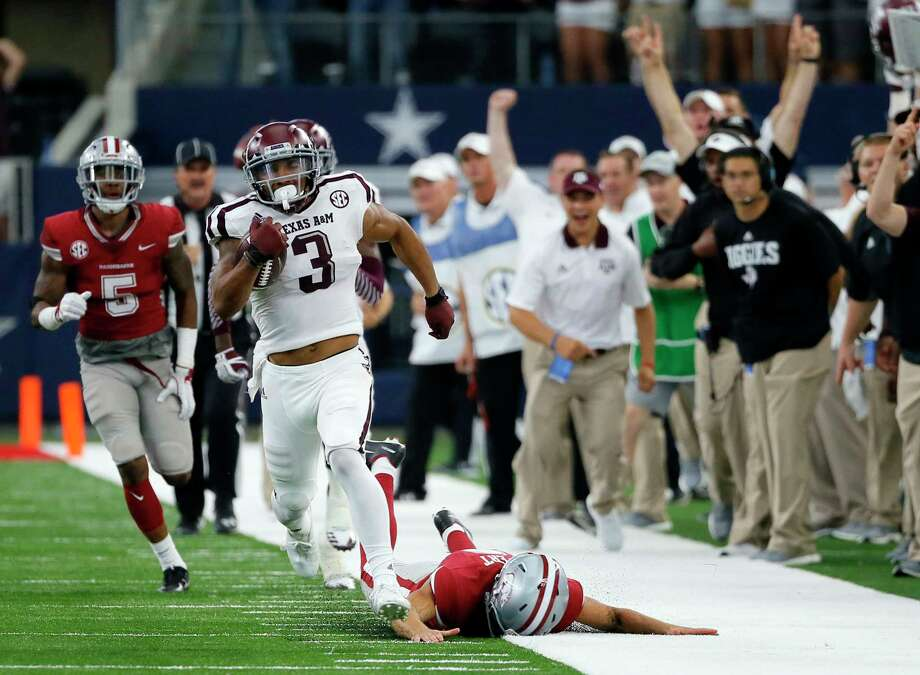 Wide receiver/kick returner Christian Kirk won't disclose a decision about returning for his senior season until after A&M plays Wake Forest on Dec. 29. Photo: Tony Gutierrez, STF / Copyright 2017 The Associated Pr