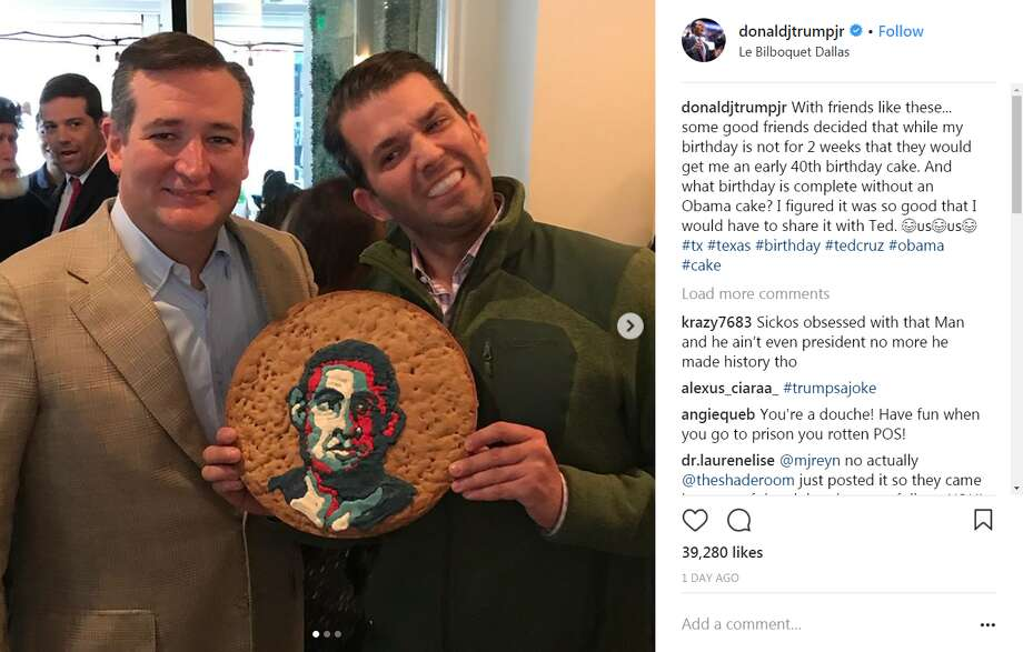 The owner of the restaurantwhere Ted Cruz and Donald Trump Jr. snapped a photo holding an Obama cookie cake apologized on Instagram.See nine interesting facts about Donald Trump Jr. Photo: Donaldjtrumpjr Instagram