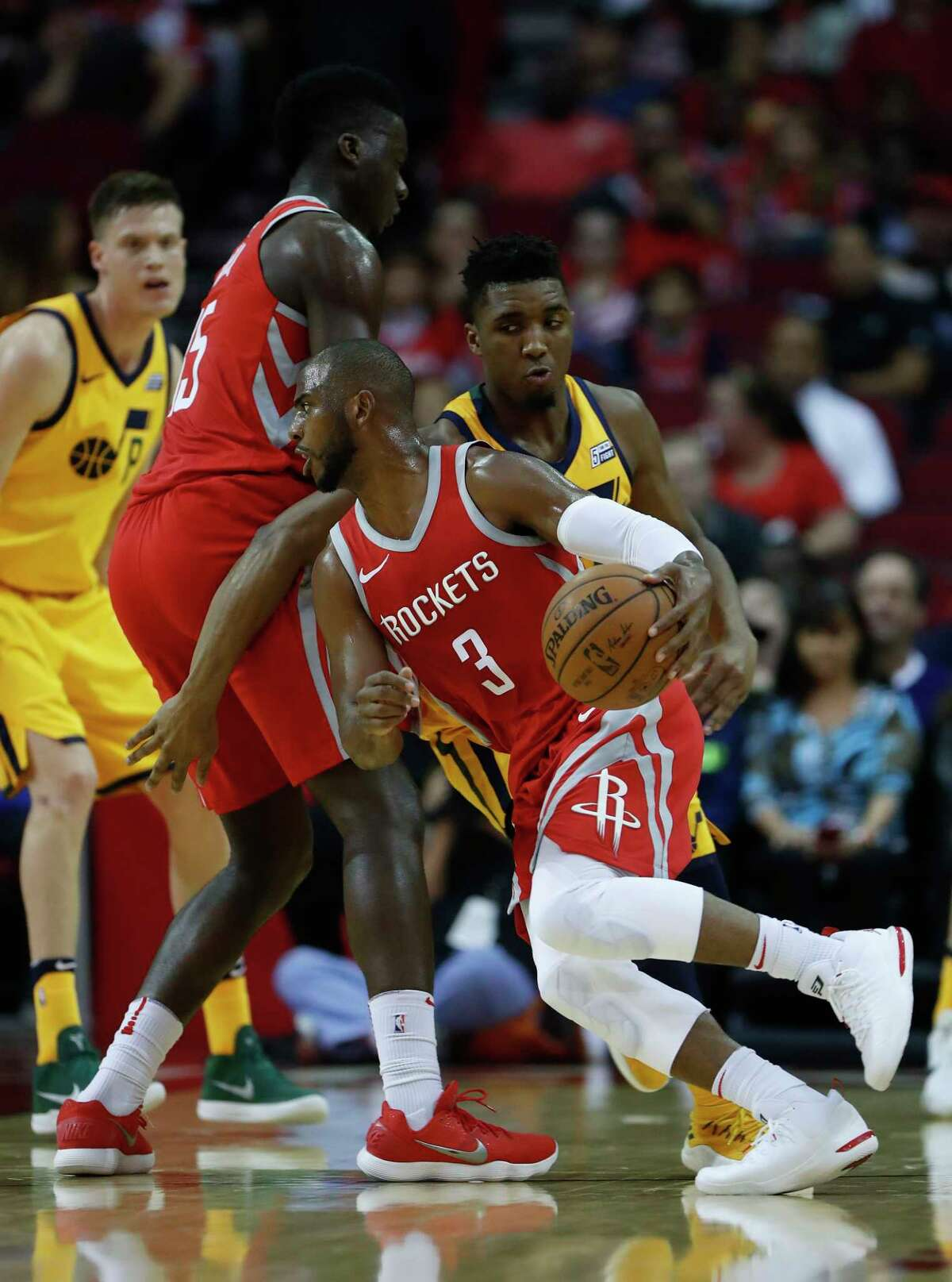 Houston Rockets guard Chris Paul (3) during the first half of an NBA basketball game at Toyota Center, Monday, Dec. 18, 2017, in Houston.