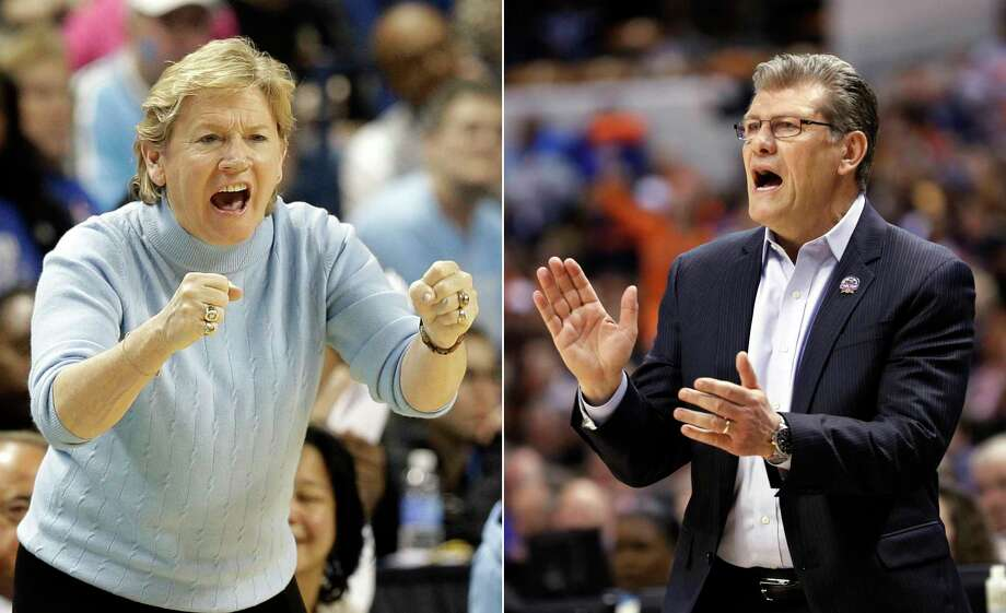 FILE - At left, in a March 6, 2015, file photo, North Carolina coach Sylvia Hatchell shouts to her team during the second half of an NCAA college basketball game against Louisville in the quarterfinals of the Atlantic Coast Conference women's tournament in Greensboro, N.C. At right, in an April 5, 2016, file photo, Connecticut head coach Geno Auriemma yells from the sidelines during the second half of the championship game against Syracuse at the women's Final Four in the NCAA college basketball tournament, in Indianapolis. In an almost unthinkable statistical oddity, Sylvia Hatchell and Geno Auriemma will have the chance to win their 1,000th games on Tuesday, Dec. 19, 2017, joining an elite club. (AP Photo/File) ORG XMIT: NY151 / AP