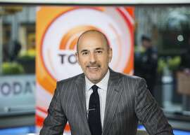 """This Nov. 8, 2017 photo released by NBC shows Matt Lauer on the set of the """"Today"""" show in New York. On the week host Matt Lauer was fired because of sexual misconduct charges, NBC�s �Today� show beat its rivals at ABC for the first time in three months. (Nathan Congleton/NBC via AP)"""