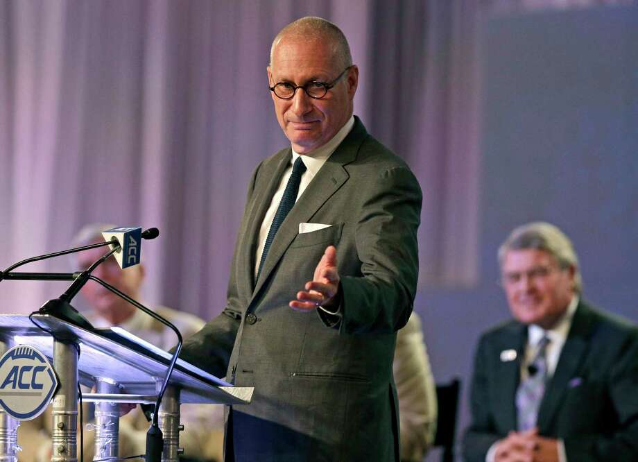FILE - In this July 21, 2016 file photo, ESPN president John Skipper gestures as he talks about the new ACC/ESPN Network during a news conference at the Atlantic Coast Conference Football Kickoff in Charlotte, N.C. Skipper says he is resigning to take care of a substance abuse problem. The sports network says its former president, George Bodenheimer, will take over as acting head of the company for the next 90 days. (AP Photo/Chuck Burton, File) ORG XMIT: NYET101 Photo: Chuck Burton / Copyright 2016 The Associated Press. All rights reserved. This m