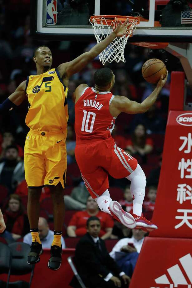 Rockets guard Eric Gordon was unstoppable Monday night, whether going inside against the Jazz's Rodney Hood or bombing away with a fourth-quarter barrage of 3-pointers. Photo: Karen Warren, Staff / © 2017 Houston Chronicle