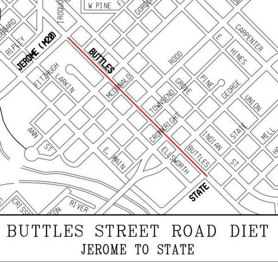 Buttles Street will undergo a lane reduction on a trial basis from Jerome to State streets.