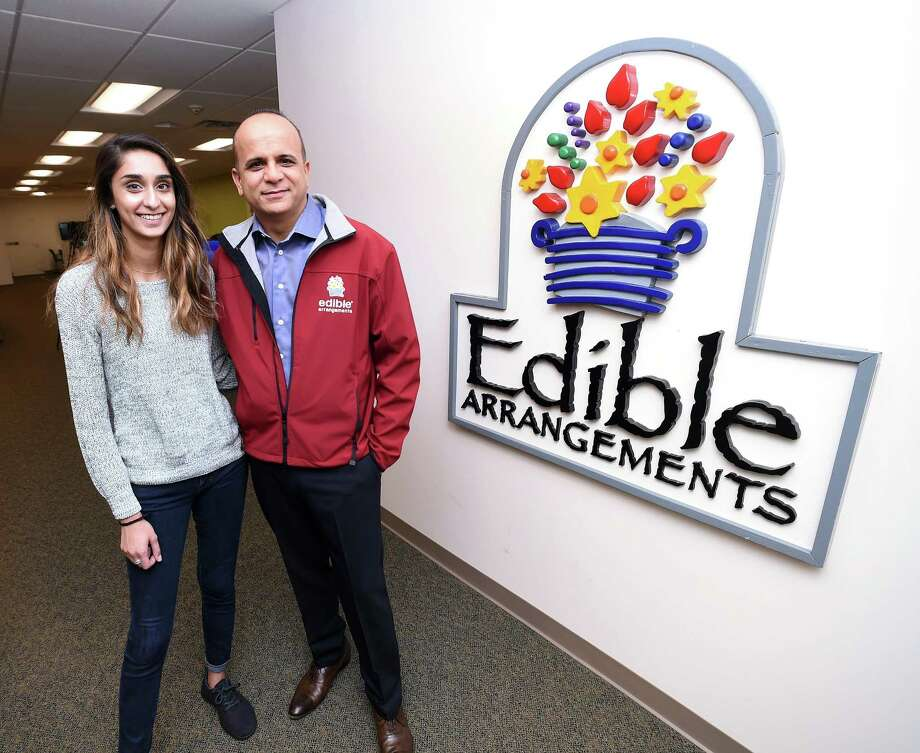 Edible Arrangements CEO Tariq Farid with daughter Somia Farid in May 2017 at the franchisor's Wallingford, Conn. headquarters. Photo: /