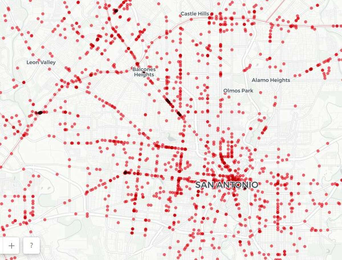A new interactive map show which areas of San Antonio are most dangerous for pedestrians.