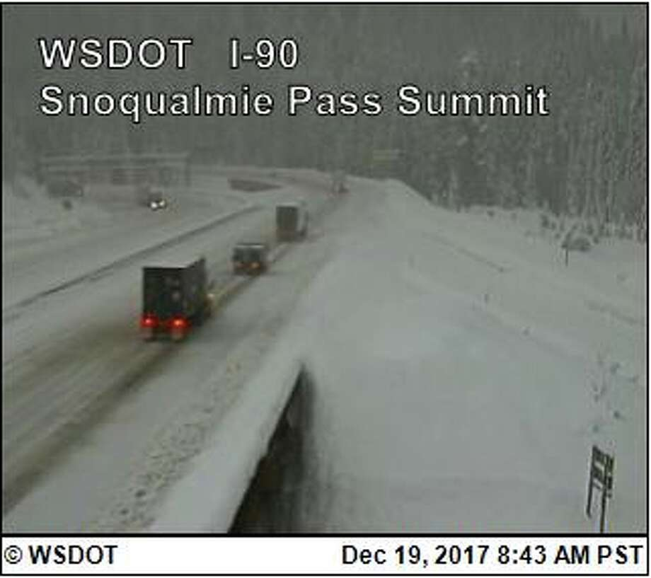 Interstate 90 was closed eastbound over Snoqualmie Pass Tuesday morning as heavy snow continued to fall. Photo: WSDOT