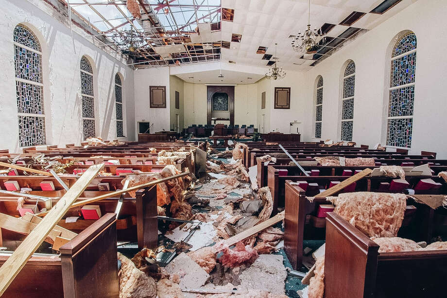 FILE - The inside of First Baptist Church in Refugio, Texas after it was hit by Hurricane Harvey. In a policy shift, the Trump administration says houses of worship can get direct FEMA funding after disasters. Photo: Courtesy Photo / © 2017 Houston Chronicle