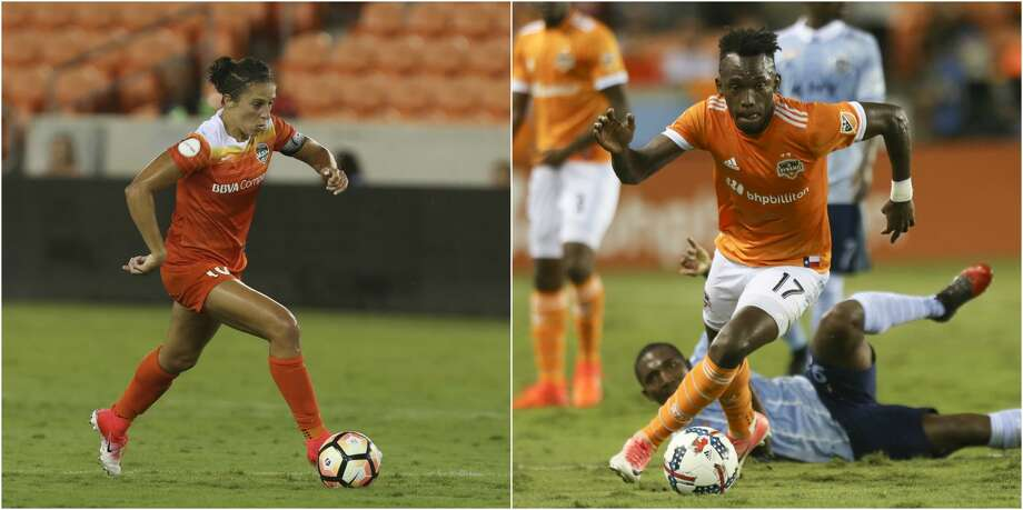 LEFT: Houston Dash forward Carli Lloyd (10) dribbles during the second half of the game at BBVA Compass Stadium Saturday, July 8, 2017, in Houston. ( Yi-Chin Lee / Houston Chronicle )RIGHT: Houston Dynamo forward Alberth Elis (17) gets control of the ball during the first half of the first-round playoff MLS match at BBVA Compass Stadium Thursday, Oct. 26, 2017, in Houston. ( Yi-Chin Lee / Houston Chronicle ) Photo: Yi-Chin Lee/Houston Chronicle