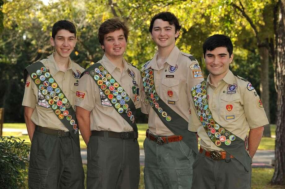 New Eagle Scouts are, from left, Thomas Pfeifer, Michael Goolsby, John Benson and Payton Harris. Photo: Courtesy Photo