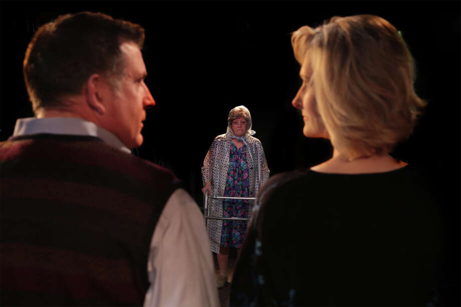 "Sophie arrives to stay with her daughter Barbara, something Barbara and her husband David aren't prepared for in a scene from ""Social Security"" presented by Theatre Southwest. From left are Howard Block, Phyllis Deany, and Molly Carnes. Photo: Scott McWhirter/Theatre Southwest"