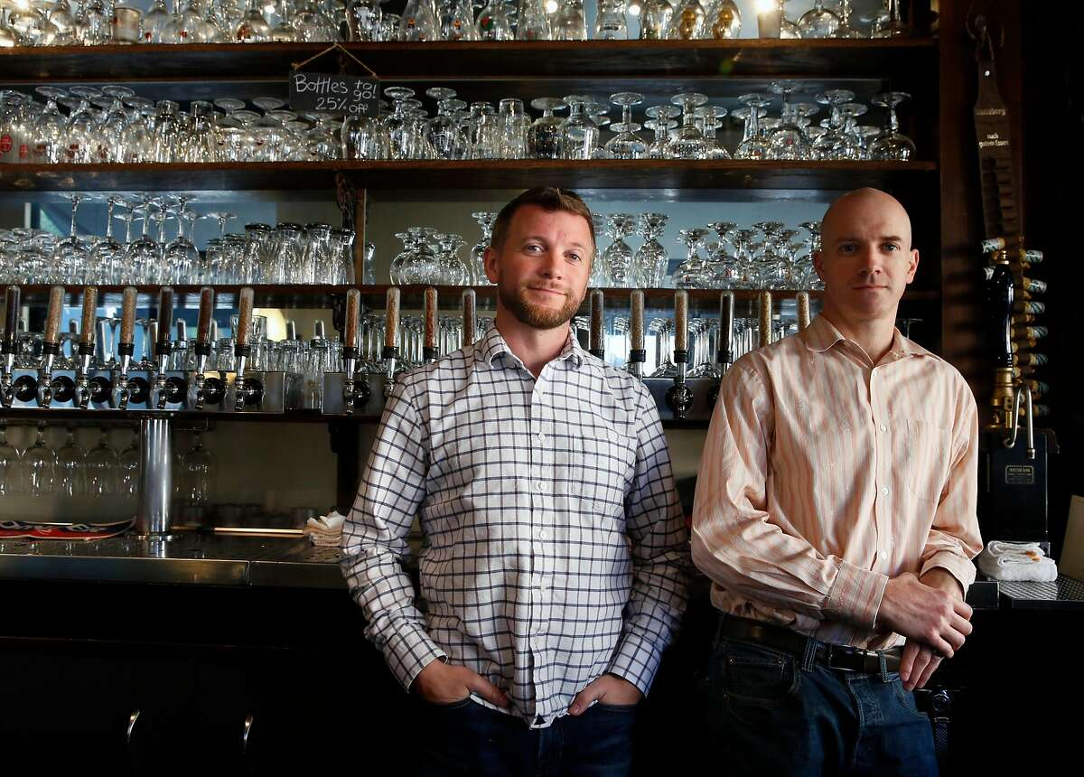 Owners Nat Cutler (left) and Christian Albertson at Monk's Kettle in the Mission in 2017.
