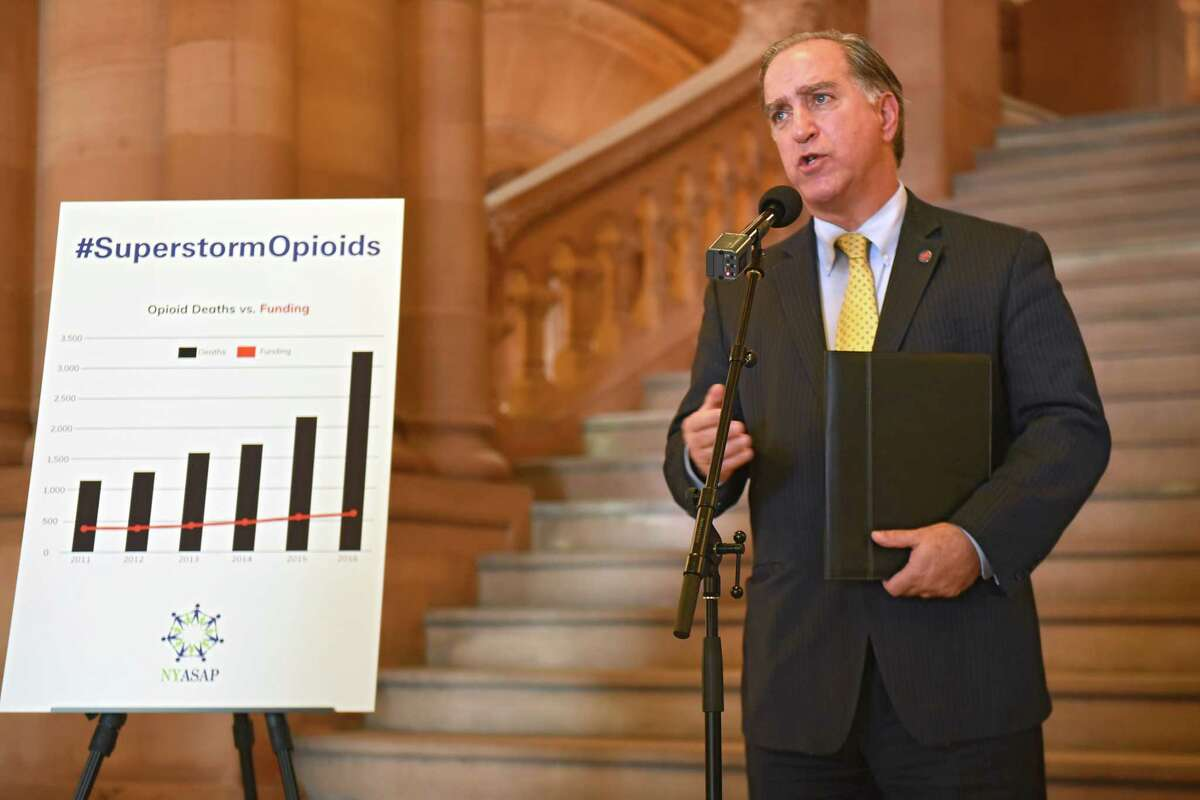"""New York Association of Alcoholism And Substance Abuse Providers (ASAP) Executive Director John Coppola launches the ?""""Superstorm Opioids?• advocacy campaign in the New York State Capitol on Tuesday, Dec. 19, 2017 in Albany, N.Y. (Lori Van Buren / Times Union)"""