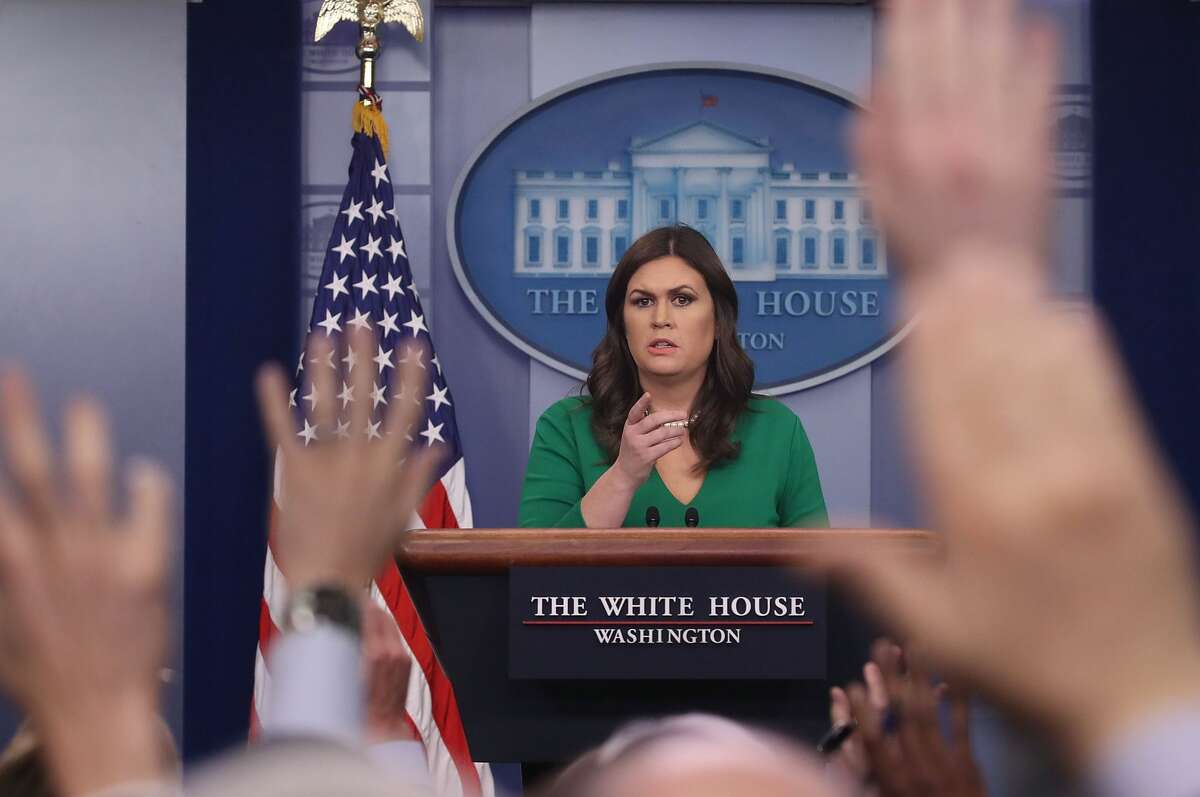 White House Press Secretary Sarah Sanders speaks to the media after the House of Representatives pass President Trump's tax reform bill, during her daily press briefing at the White House on December 19, 2017 in Washington, DC. (Photo by Mark Wilson/Getty Images)