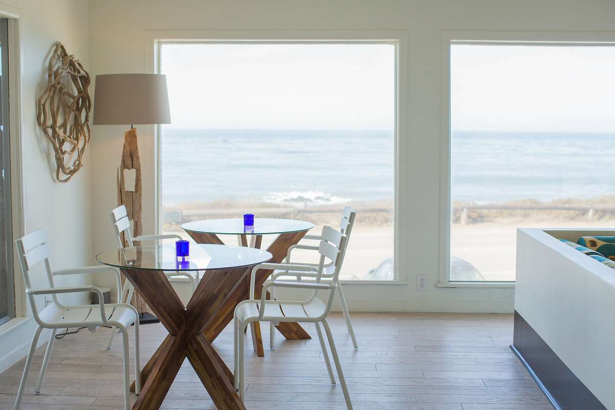 Cambria Beach Lodge serves locally sourced pastries and coffee in the breakfast nook of its lobby overlooking Moonstone Beach.