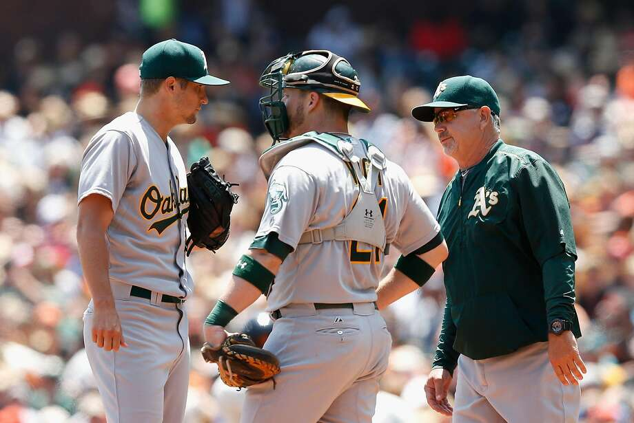 The A's Kendall Graveman (left) is more successful early in games, as his .696, .738 and .864 career OPS-against indicates for first, second and third looks, respectively. But he often pitches into the seventh inning as the No. 1 starter. Photo: Lachlan Cunningham, Getty Images