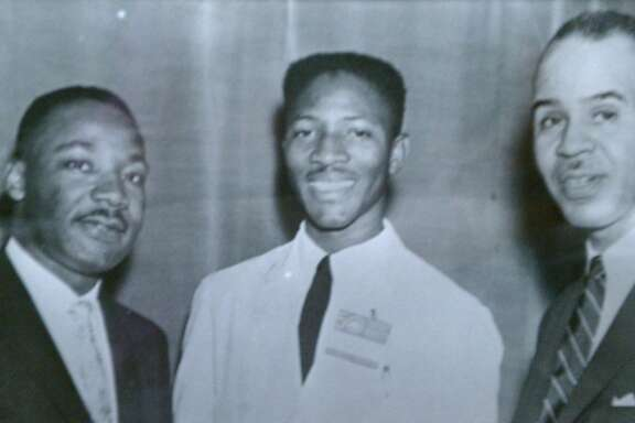 reverend Amos Brown (center) with Martin Luther King (left) and NAACP leader Roy Wilkins