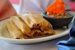 Jacala Restaurant. Pictured are the handmade tamales served with chili. Kin Man Hui/kmhui@express-news.net