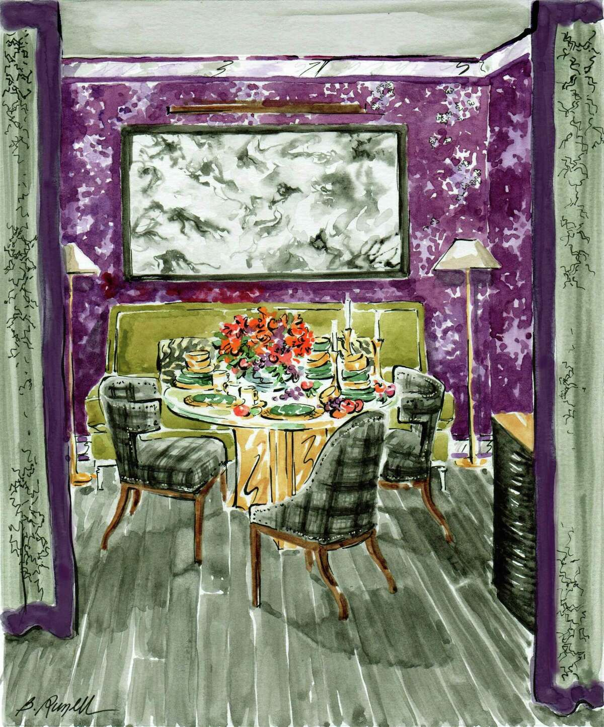 This illustration by Russell Melzer, of Westport, is for the 2017 Rooms with a View designer showcase for designer Robert Passal, of New York City.