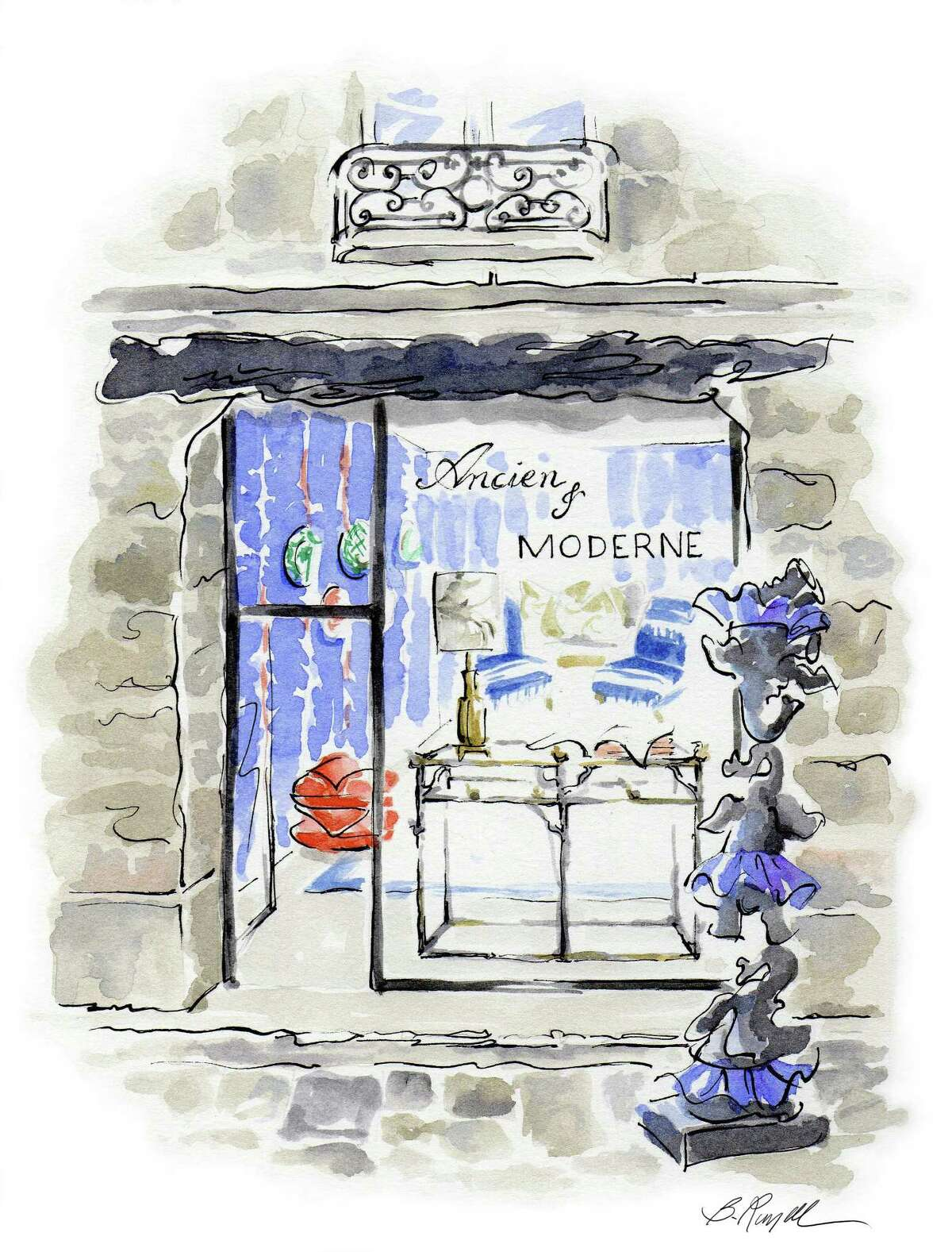 Art by Russell Melzer for a Paris pop-up salon.