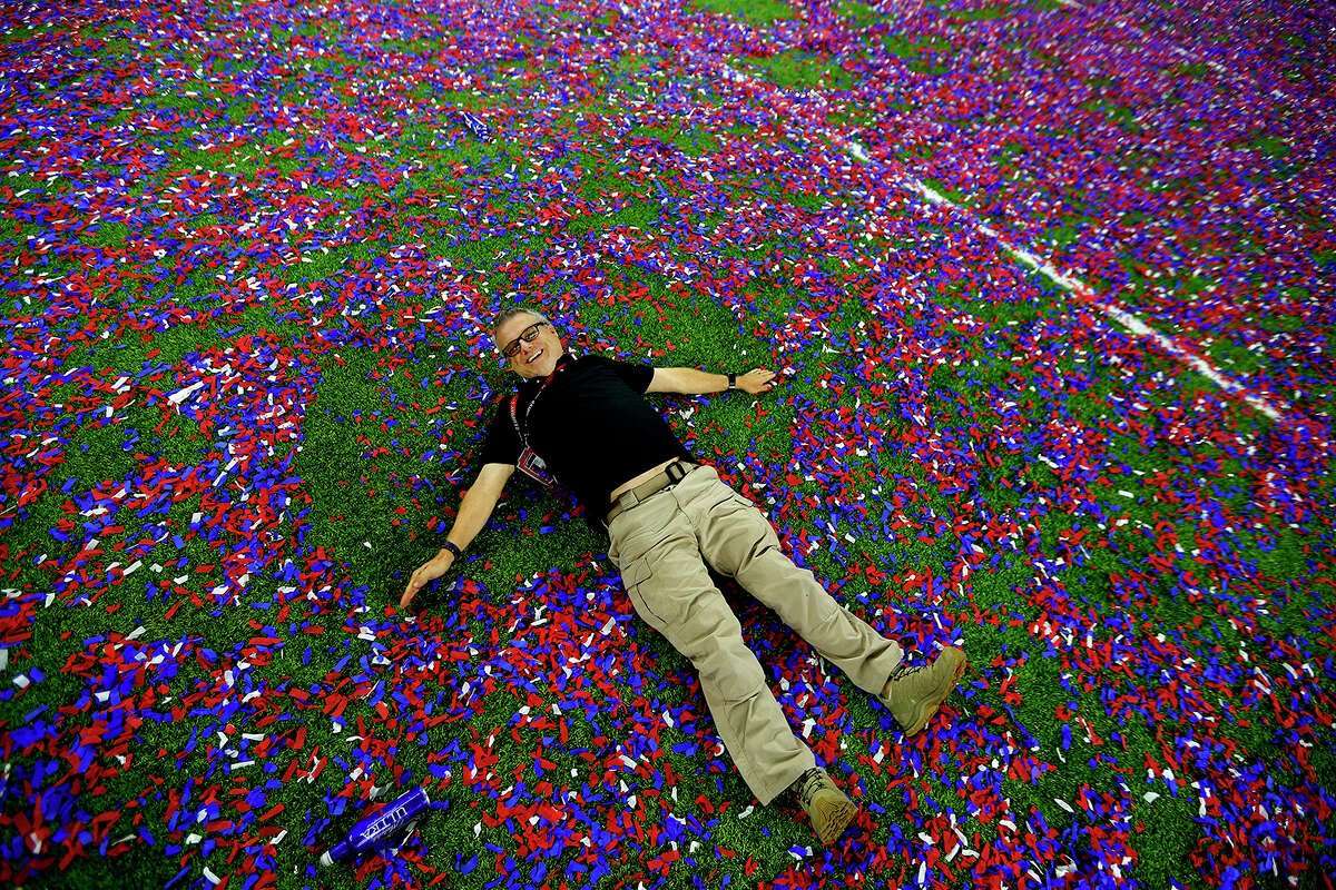 """James """"Jake"""" Nielsen on NRG field after the Super Bowl Monday, Feb. 6, 2017, in Houston. Jake turned 54 after midnight that night. IN MEMORIAM: Houston Chronicle photographer James ?""""Jake?"""" Nielsen, 1963-2017."""