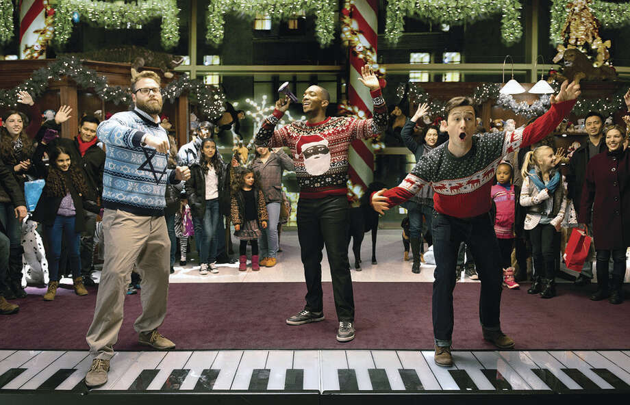 "L-r, Seth Rogen, Joseph Gordon-Levitt and Anthony Mackie star in Columbia Pictures' ""The Night Before."" ORG XMIT: Joseph Gordon Levitt (Finalized) Photo: Credit: Sarah Shatz / © 2015 Columbia Pictures Industries, Inc. Credit: Sarah Shatz."