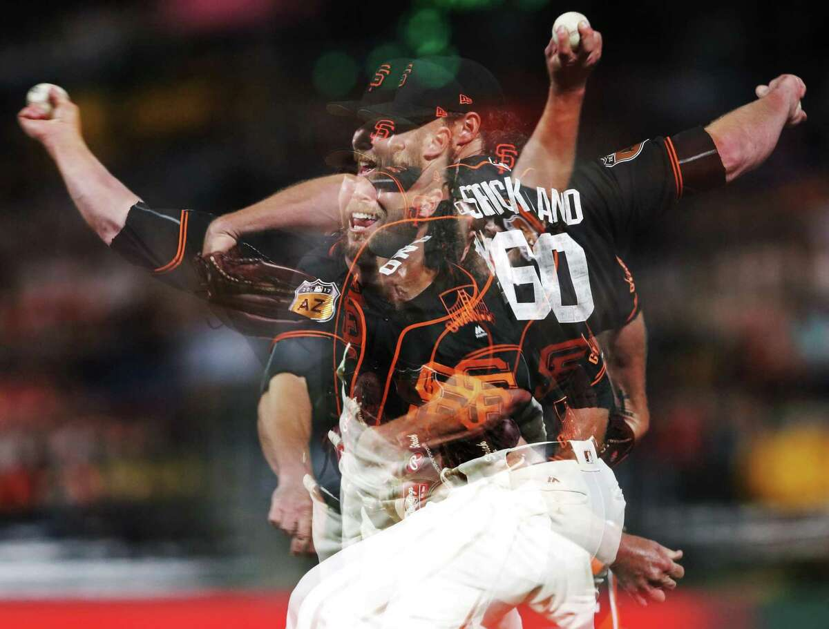 In camera multiple exposure of San Francisco Giants' relief pitcher Hunter Strickland against Oakland Athletics during Bay Bridge Series at AT&T Park in San Francisco, Calif., on Friday, March 31, 2017.