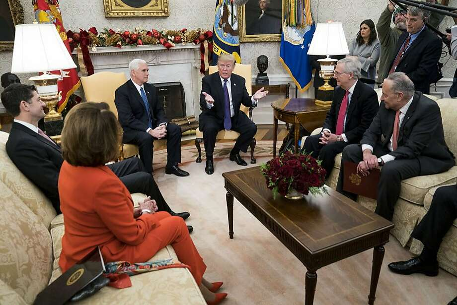 President Trump discussed a potential government shutdown with Republican and Democratic congressional leaders at the White House inon Dec. 7. Photo: DOUG MILLS, NYT