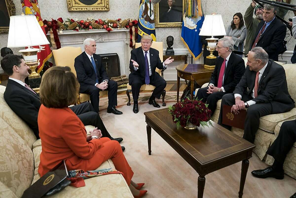 President Donald Trump welcomes Republican and Democratic Congressional leaders to discuss the potential government shutdown, at the White House in Washington, Dec. 7, 2017. From left: House Speaker Paul Ryan (R-Wis.), House Minority Leader Nancy Pelosi (D-Calif.), Vice President Mike Pence, Trump, Senate Majority Leader Mitch McConnell (R-Ky.) and Senate Minority Leader Chuck Schumer (D-N.Y.). (Doug Mills/The New York Times)