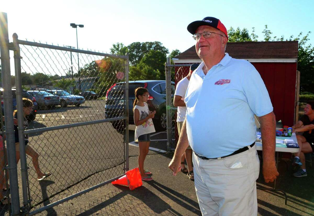 Brakette's General Manager Bob Baird on duty as the Brakettes softball team plays against Rock Gold at DeLuca Field in Stratford, Conn., on Saturday July 15, 2017.