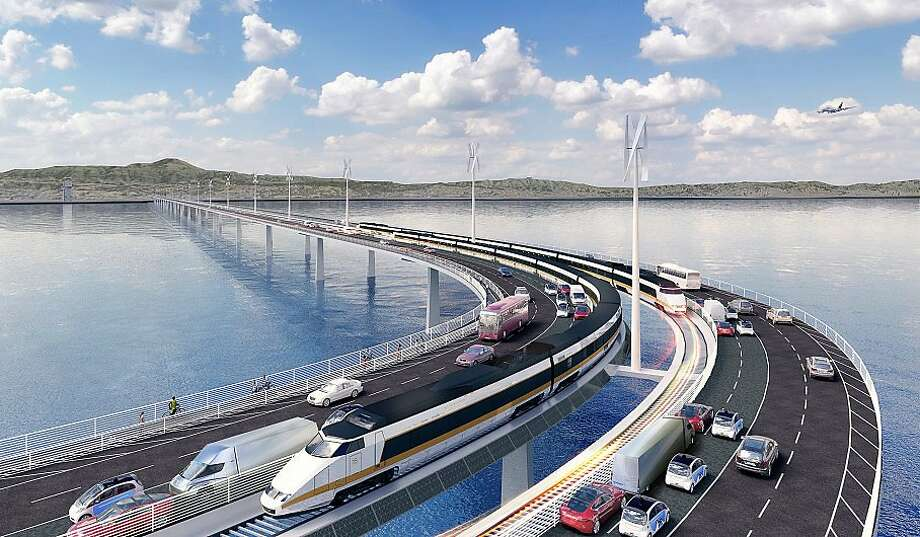 A new bridge linking the East Bay to south of San Francisco is envisioned as part of a wish-list package of transportation projects whose price tag could total $100 billion. Photo: Matier & Ross, Courtesy Heller Manus Architects
