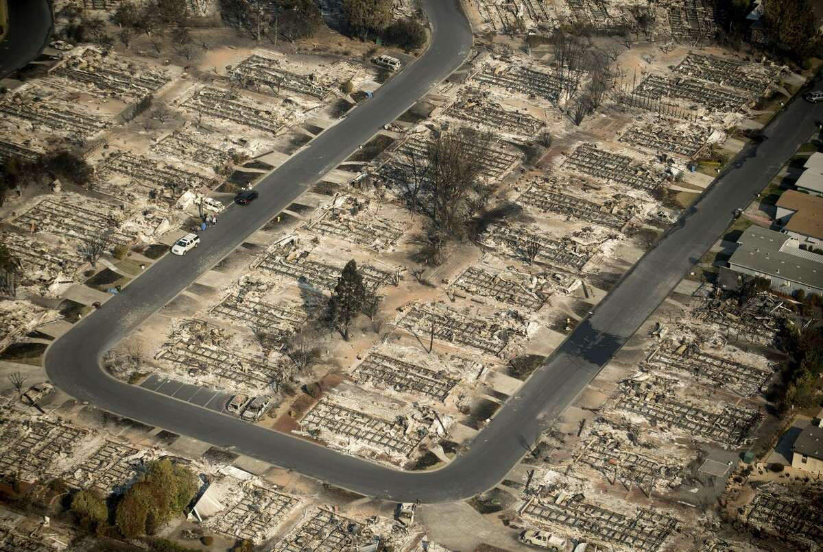 Homes leveled by the Tubbs fire line the Coffey Park neighborhood of Santa Rosa, on Oct. 11.