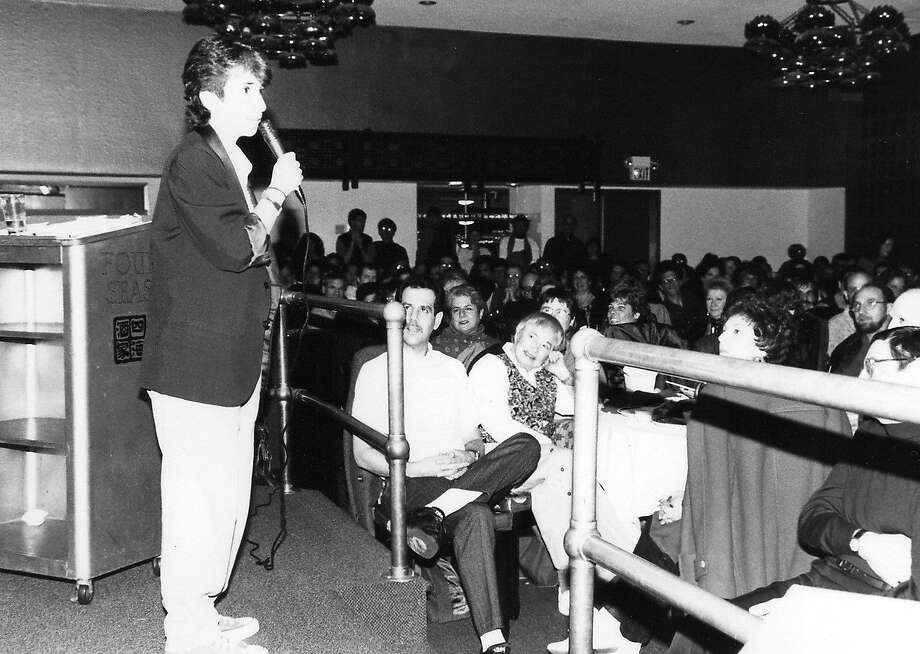 Kung Pao Kosher Comedy founder Lisa Geduldig performs at the long-running event's first show at the Four Seas Restaurant in San Francisco in 1993. Photo: Courtesy Kung Pao Kosher Comedy